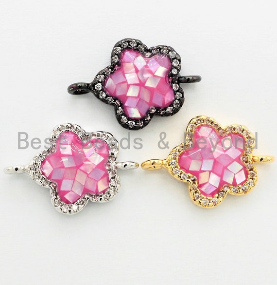 CZ Micro Pave Clover Connector with Natural Pink Abalone Shell, Cubic Zirconia Space Connector, CZ Abalone Stone Charm 13x18mm, SKU#Z249