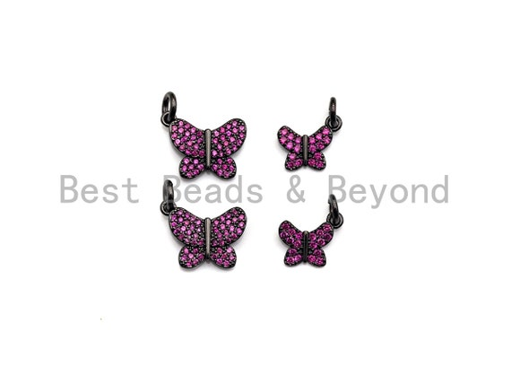 Fuchsia CZ Micro Pave Butterfly Pendant/Charm,Cubic Zirconia Paved Charm, Necklace Bracelet Charm Pendant,7x9/10x13mm,sku#X139
