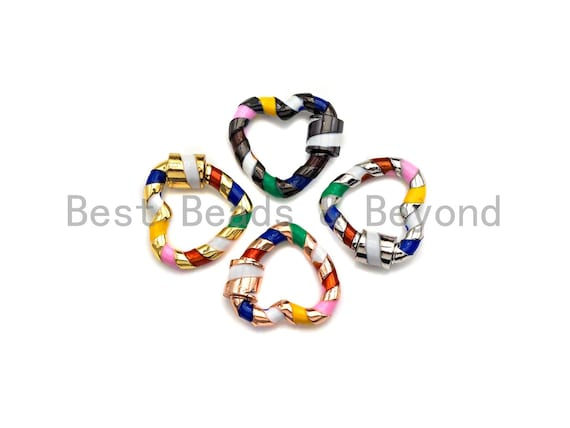 PRESELLING Rainbow Enamel Pave Heart Shape Clasp, Gold/Silver/Rose Gold/ Gunmetal Carabiner Clasp, 18x20mm, sku#H254