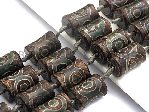 1pc/11pc Etched Tibetan agate Spool Beads, Dzi Agate Beads, Chunky Tibetan Agate,Dark Green Brown Agate Beads, 15x22mm, sku#U516