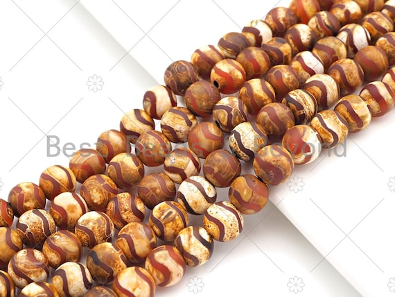 """Natural Tibetan Brown Agate with Double Wavy Line Beads,8mm/10mm/12mm Agate Beads, Tibetan Round Smooth Agate,15.5"""" Full Strand, Sku#U1104"""