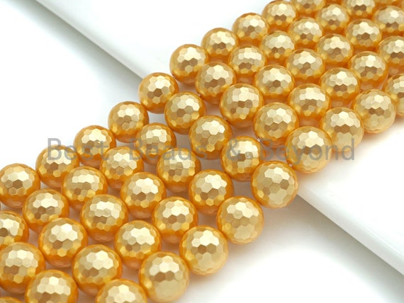 Quality Gold Mother of Pearl beads, 8mm/10mm/12mm Pearl Faceted Round beads, Golden Loose Faceted Pearl Shell Beads, 15.5inch strand, T153