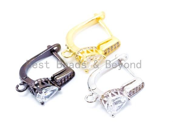 1pair/3pairs, CZ Micro Pave Teardrop Earring Hooks, Latchback Earrings, Huggie ear wire, Cubic Zirconia leverback earrings, sku#J13