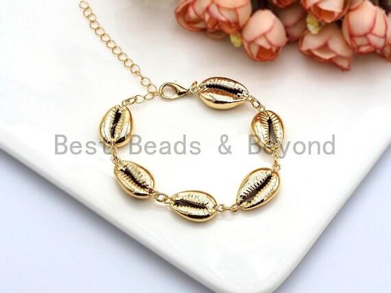 Gold Cowrie bracelet, Shell anklet, Seashell bracelet,Gold Shell jewelry,Beach bracelet Seashell jewelry Mothers day Gift for MomSKU#V40