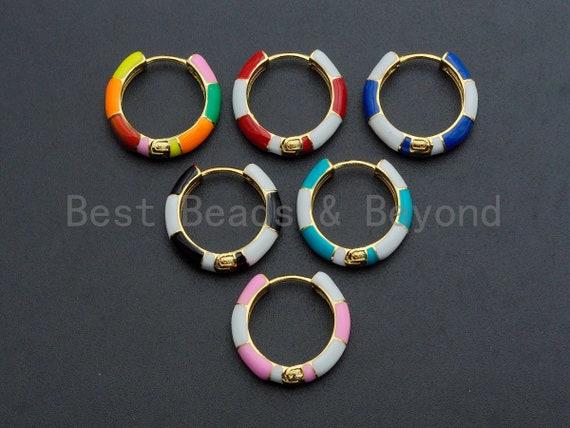 Colorful Enamel Round Ring Latch Back Earring , Huggies Enamel Earrings Gold Finish, Colorful Enamel earrings, 6x23mm,sku#J156