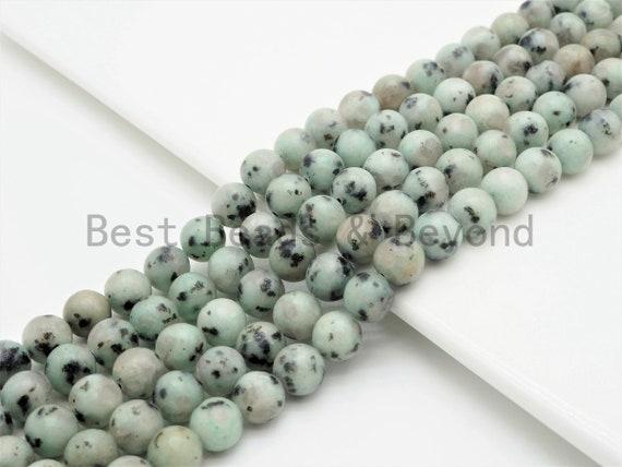 Natural Smooth Round  Sesame Jasper beads, 6mm/8mm/10mm Mint Color Gemstone beads, Blue Kiwi Jasper Beads, 15.5inch strand, SKU#U396