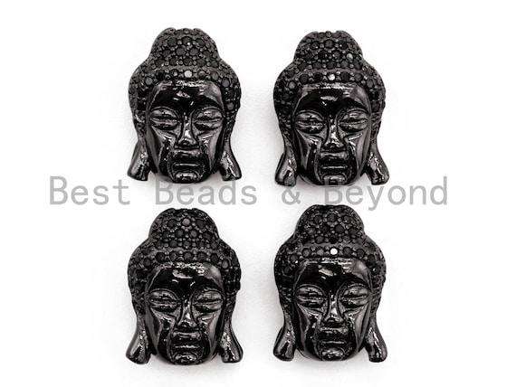 Black CZ Pave On Black Micro Pave Buddha Head Beads, Cubic Zirconia Pave Charm, Buddha Head Space Beads,11x15x7mm, sku#G317