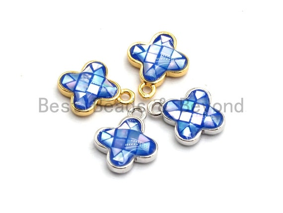 100% Natural Royal Blue Color Clover Shell Charm in Gold/Silver Finish, Blue Shell Pendant, Shell Charm, 10x13mm,SKU#Z330