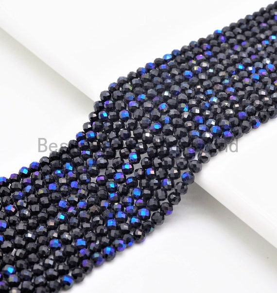 "Top Quality Mystic Plated Faceted Black Spinel Round Beads 2/3mm Gemstones Beads, Sparkly Black Spinel Beads,15.5"" Full Strand,SKU#U415"