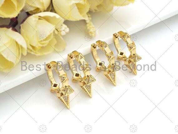 CZ Micro Pave Spike Huggies earrings, 18K Gold Color Spike Earrings, pave earrings, 23x26mm, sku#J306
