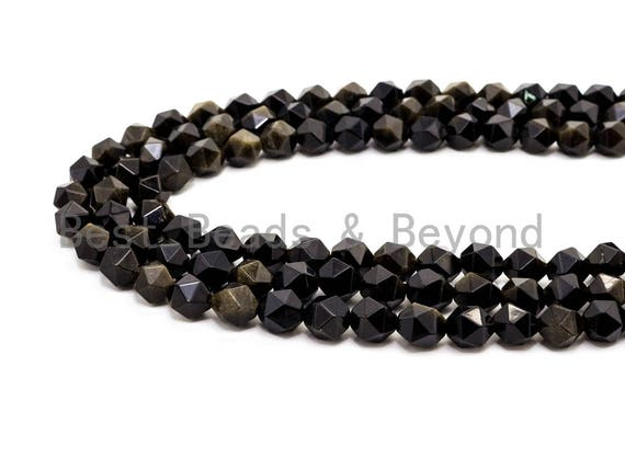 Unique Cut Quality Natural Gold Obsidian beads, 6mm/8mm/10mm/12mm, Diamond Cut Faceted Round Gemstone Beads, 15inch strand, SKU#U40
