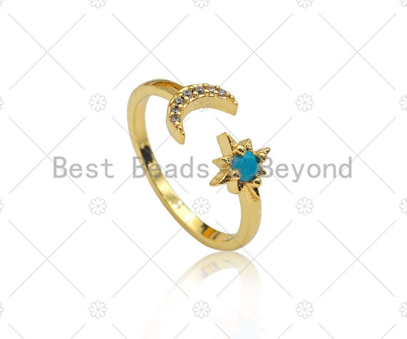 CZ Micro Pave Cresent Moon North Star Shape Ring, 18K Gold Filled Moon Star Open Ring, Adjustable Turquoise Ring, 20mm,Sku#X204