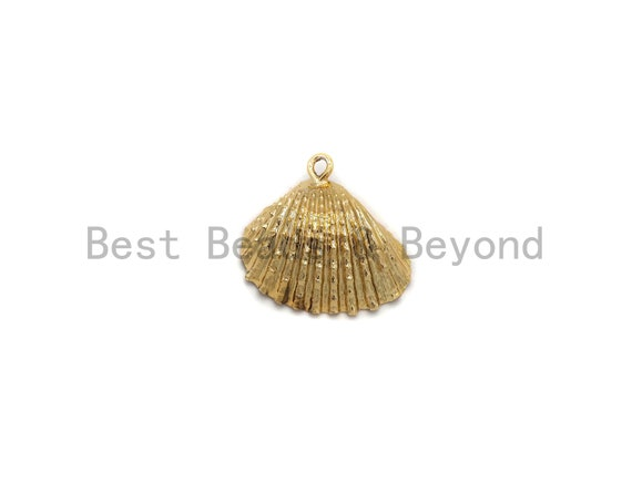 Gold Plated Natural Clam Shell Pendant, Scallop Shell, Cockle Shell, Seashell Charms, Gold Shell Pendant, Beach Charm,23x25mm,sku#V33