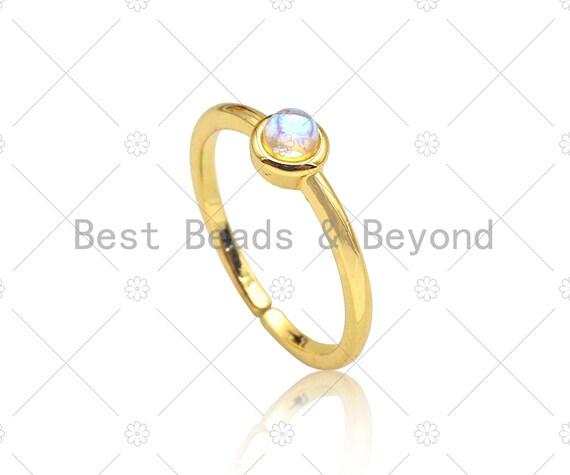 Gold Filled Round Moonstonel Adjustable Ring, 18K Gold Filled Open RIng, Genuine Blue Moonstone Ring, 20mm, Sku#X209