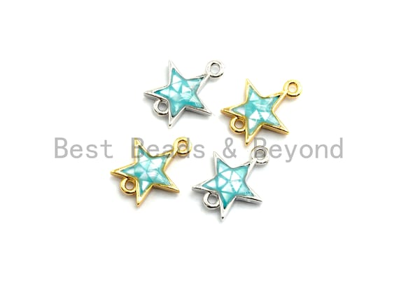 100% Natural Aqua Blue Shell Star Shape Connector, Blue Shell Connector for Bracelet/Necklace Making, Gold/Silver Plated, 11x13mm,SKU#Z297