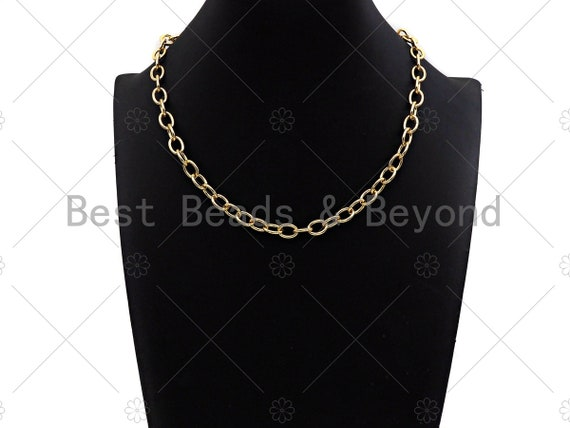"""18"""" Finished Gold Oval Link Chain Necklace, Gold Chain Necklace, Ready to wear w/Lobster Clasp, 8x11mm,sku#LD19"""