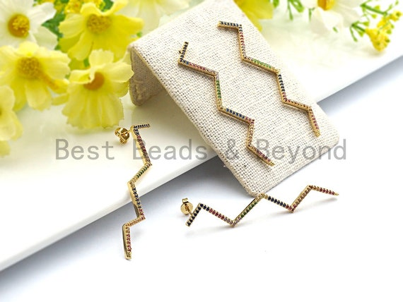 Colorful CZ Micro Pave Long Wavy Line Stud Earring ,Gold plated Pave Earrings, Minimal Earring, 2x57mm,sku#J99