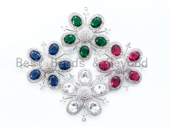 45mm CZ Pave Focal Flower with Colored Gemstone, Silver Rhodium Flower, Ruby/Emerald pendant, vintage artisan Jewerly findings, sku#L146