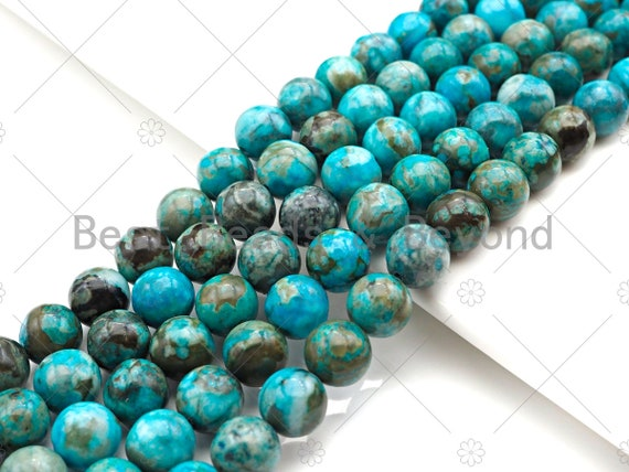 Natural Blue Angelite, 6mm/8mm/10mm/12mm Round Smooth Angelite, Color Enhanced Blue Angelite, SKU#U1012