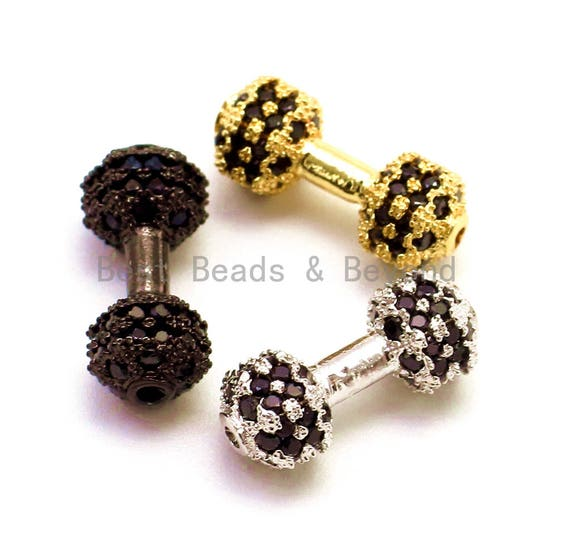 CZ Dumbbell Black Micro Pave Beads, Cubic Zirconia Spacer Beads, Men's Bracelet Charms, 12x6mm, sku#G128