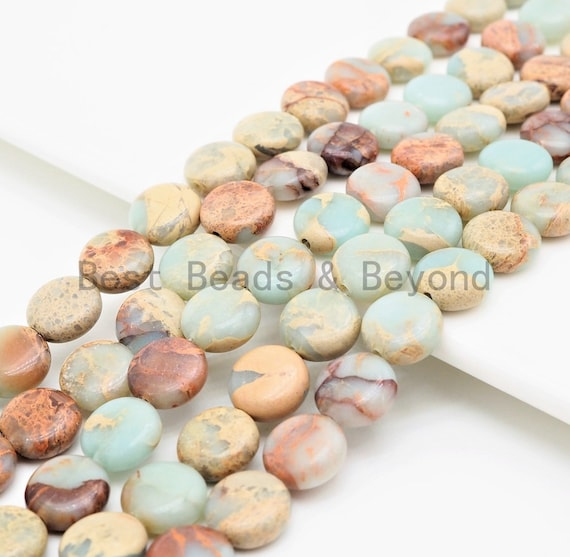 Quality Natural Serpentine Flat Coin Smooth Beads,10mm African Opal beads, Gemstone Beads, 15.5inch strand, SKU#U314