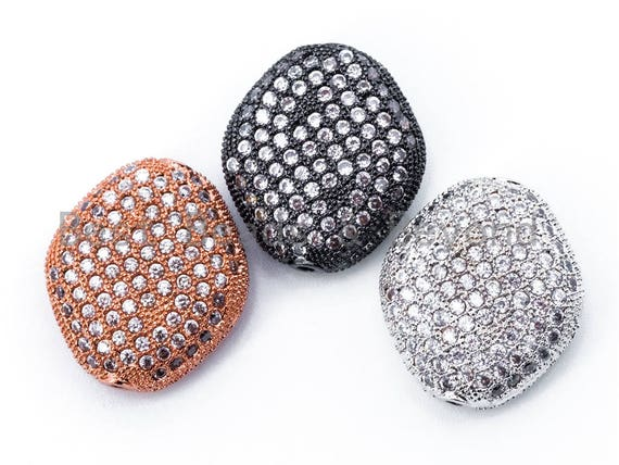 18x16x7mm CZ Fully Micro Pave Flat Oval Diamond Shape Spacer Beads, Cubic Zirconia Marquise Shape Space Beads, Rose Gold Pave Beads, sku#N29