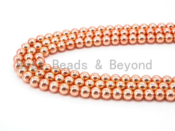 Natural Rose Gold Copper Color Hematite Beads, 3mm/4mm/6mm/8mm/10mm/12mm Round Smooth, 15-16inch Full Strand-Bright Rose Gold Beads, SKU#S2