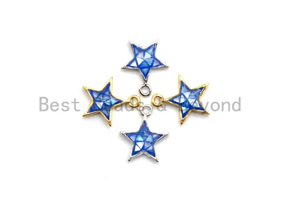 100% Natural Royal Blue Color Five Star Shell Charm, Natural Blue Star Shell Pendant, Gold/Silver plated star, 11x13mm,SKU#Z336