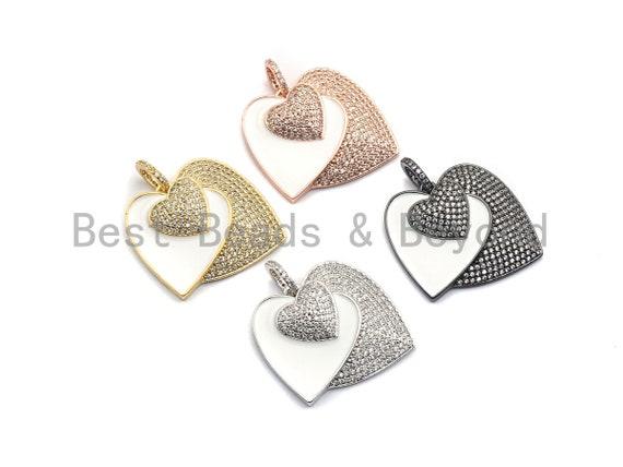 PRESELLING Micro CZ Pave Enamel Three Hearts Pendant, Micro Pave White Enamel Pendant, Heart Pendant, 27x29mm,sku#F929