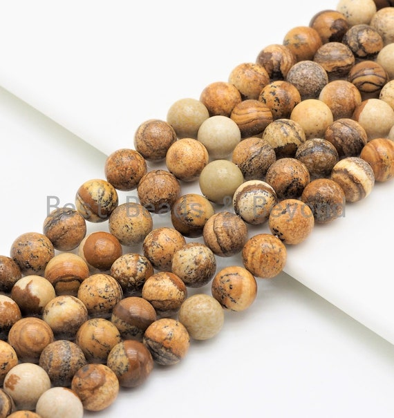 Quality Natural Picture Jasper Beads, Round Smooth 6mm/8mm/10mm/12mm beads, Brown Gemstone, 15.5inch strand, SKU#U424