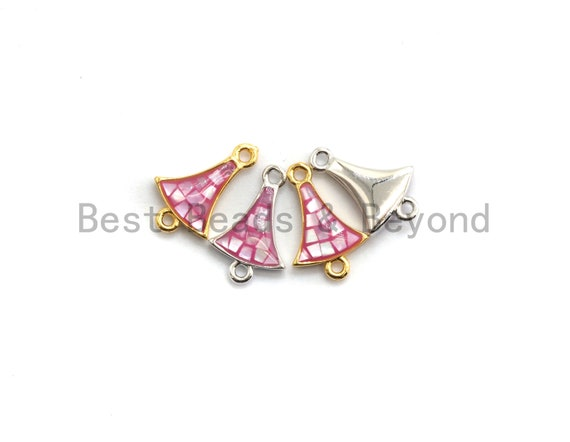 100% Natural Pink Fan Shaped Small Bell Connector with Gold/Silver Finish, Fuchsia Pink Shell Connector, Natural Shell Bead 10x15mm,SKU#Z264