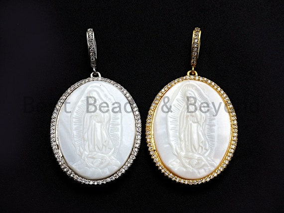 Pre-Selling CZ Micro Pave Virgin Mary on Oval Shape Pendant, Silver/Gold plated,27x36mm, Sku#F891