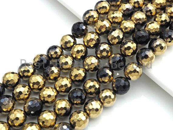 "NEW!!! Natural Half Gold Plated Black Onyx Beads, 8mm/10mm/12mm Round Faceted Gold Black Onyx Beads, 15.5"" Full Strand, sku# UA87"