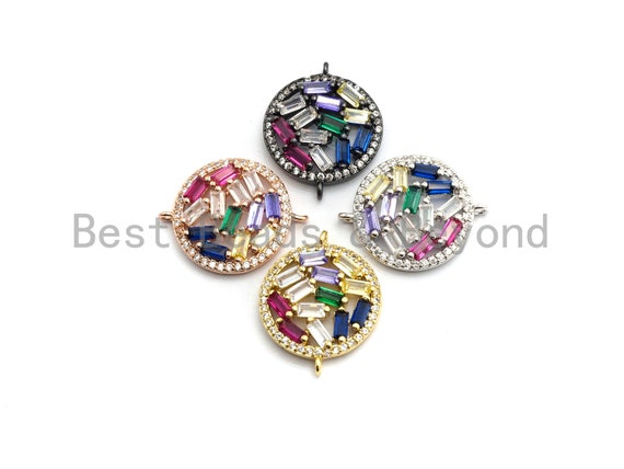 Colorful CZ Micro Pave Round Connector with baguette cz cluster, Link Connector, Spacer Connector, 17x22mm,sku#E410