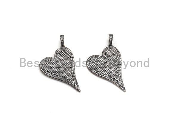 CZ Micro Pave Big Heart Shape Pendant, Antique Silver Tone, Cubic Zirconia Pave Heart Pendant, 30x41mm,sku#X132