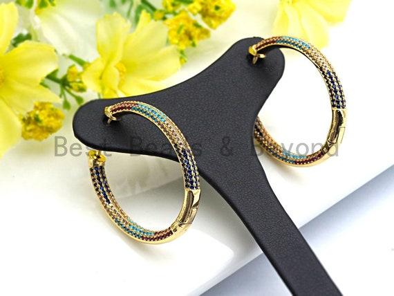 Colorful CZ Micro Pave Rainbow Large Hoop Earring, Gold Hoops earrings, Huggies Earrings,Minimal earrings,sku#J106