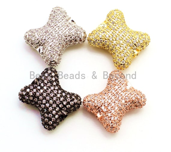 CZ Micro Pave Bow Spacer Beads with Clear Crystal for Bracelet/Necklace, Cubic Zirconia Beads 17x15x7mm, sku#G63