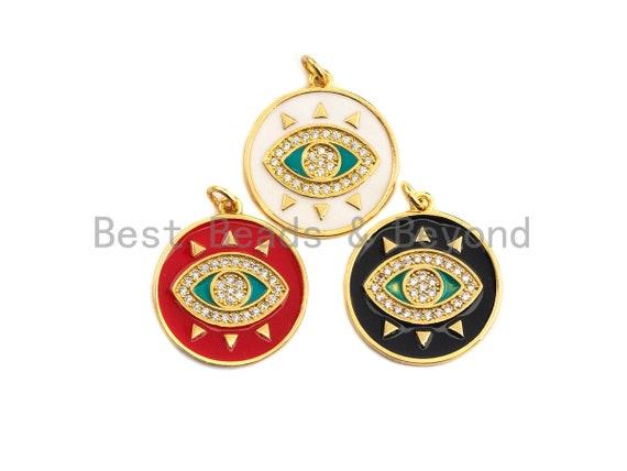 PRE-SELLING Enamel Evil Eye on disc round Charm, Red Black White eye pendant, Enamel eye charm, Protection eye charm, 20x22mm,sku#Z407