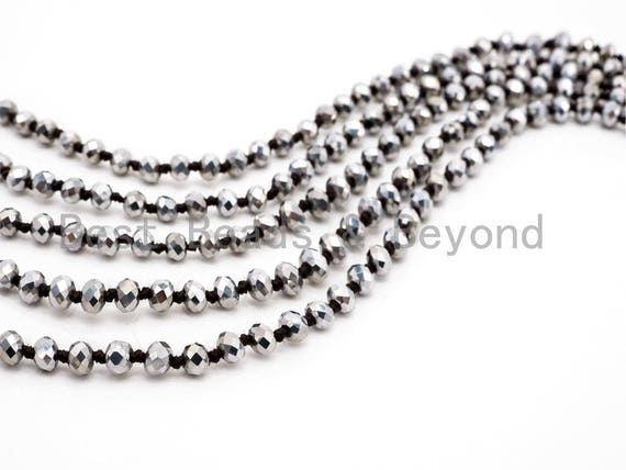 "60"" EXTRA Long Hand Knotted Silver Color Crystal Necklace, Double Wrap Necklace, Silver Color 2x4mm Rondelle Faceted Crystal Beads, SKU#D15"