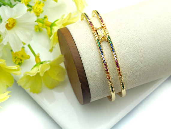 PRE-SELLING Colorful CZ Micro Pave H Cuff Bracelet, Rainbow Cubic Zirconia Gold Bracelet, Adjustable Bracelet, 11x54x54mm,sku#X27