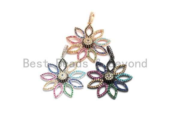 Colorful CZ Micro Pave Sunflower Filigree Pendant ,Gold/Silver/Black/Rose Gold,Cubic Zirconia Jewelry Findings,30x32mm,sku#F697