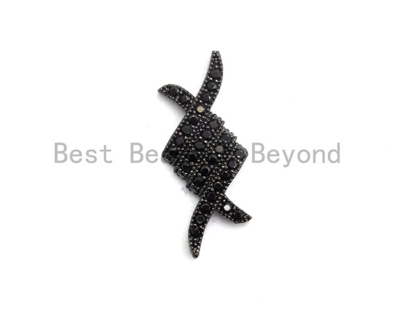 Black CZ Pave On Black Micro Pave Fish Beads/Connector for Bracelet/Necklace, Cubic Zirconia Space Connector, 9x22mm, sku#C104