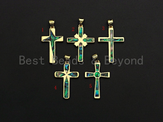 PRESELLING Gold Cross Pendant with Abalone Mother of Pearl, Cubic Zirconia Space Pendant/Charm, Shell Charm ,mm,SKU#F1090