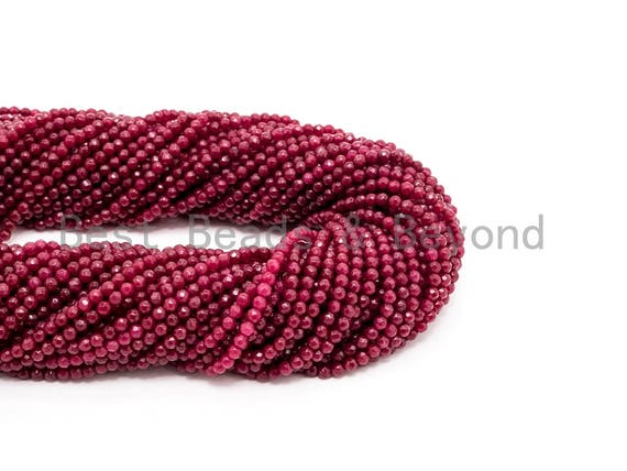 Ruby Jade beads Strand, 3mm/4mm Round Faceted beads, Red  Jade Beads, 15.5inch strand, SKU#U127