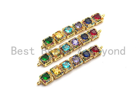 PRE-SELLING Cz Micro Pave Curved Connector with Large Colorful CZ,Silver/Gold/Rose Gold Spacer Connector/Link Connector, 7x48mm,sku#E496