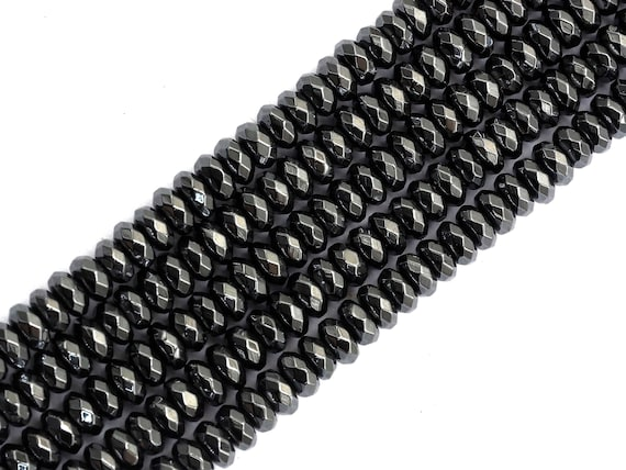 High Quality Natural Original color Hematite Beads, Rondelle Faceted Beads, 2x3/2x4/3x6/3x8mm Dark Gray Beads, 15inch FULL strand, SKU#S122
