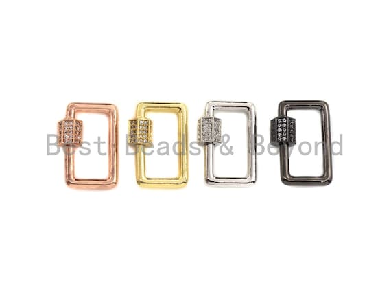 Clear CZ Micro pave Rectangle Shape Clasp, CZ Pave Clasp, Gold/Silver/Rose Gold/Gunmetal Carabiner Clasp, 13x21mm, sku#H186