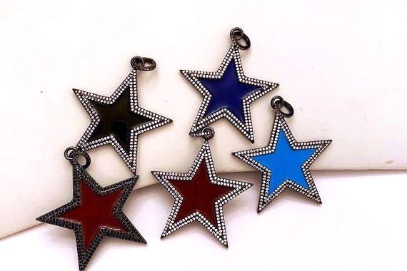 45mm Large Enamel Colorful Star Shape Pendant,CZ Micro Pave Oil Drop pendant, Star Enamel pendant,sku#F622