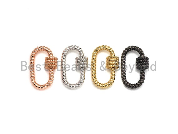 Oval Shape Clasp, CZ Pave Clasp, Gold/Silver/Rose Gold/Gunmetal Carabiner Clasp, 19x29mm, sku#H190
