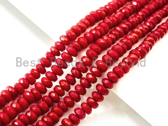 High Quality Natural Dyed Red Coral Beads, 2x4mm Rondelle Faceted Gemstone Beads, Coral Beads, Red Sparkle beads, 15.5inch strand, SKU#U117